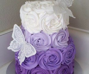 cake, purple, and butterfly image