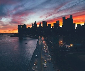 city, sunset, and new york image