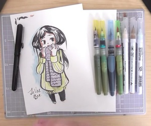 cold, girl, and draw image