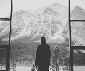 snow, black and white, and mountains image