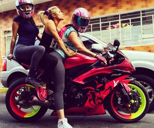 bike, girl, and motorbike image