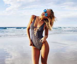 beach, blonde, and curly hair image