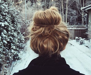 bun, winter, and hair image
