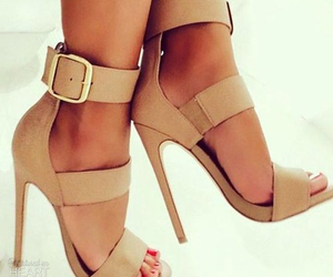 beige, heel, and buckle image