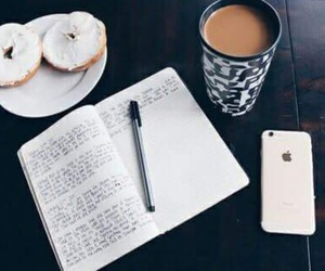 coffee, iphone, and book image