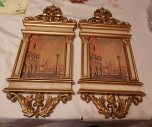 Vintage SYROCO Shirley Tatters Designed Venice Regency Dogs Palace San Marco Wall Plaques