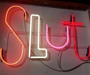 slut, neon, and light image