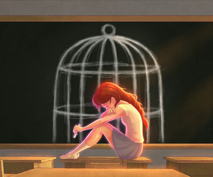 girl, cage, and sad image