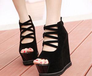 black shoes, wholesale7, and bandage wedge image