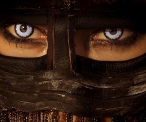 black mask, blue, and eyes image