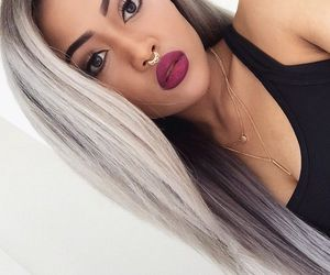 grey, hair, and lips image