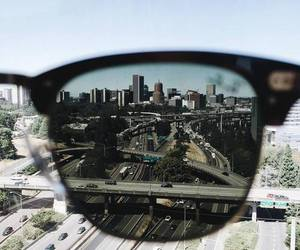 city, glasses, and photography image