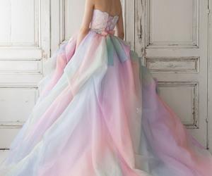 dress, wedding, and rainbow image