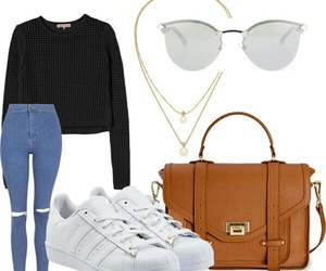 black sweater, outfit, and blue jeans image