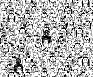 star wars, panda, and black and white image