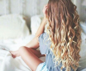gorgeous hair, grey t-shirt, and long curled hair image