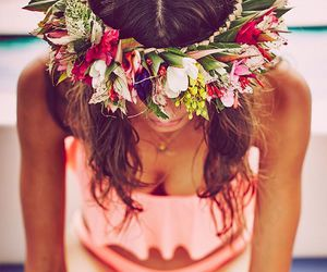 beach, flowers, and outfit image