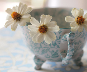 blue, flowers, and white image