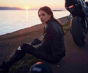 biker, girl, and sunset image