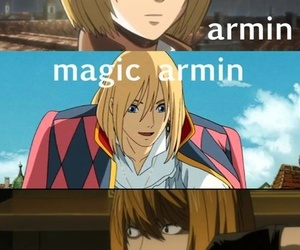 armin, death note, and attack on titan image