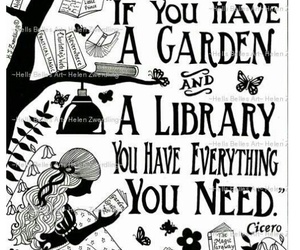 books, garden, and library image