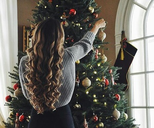 christmas, hair, and winter image
