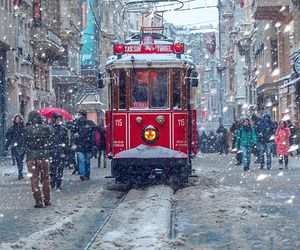cable car, istanbul, and snow image