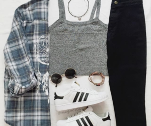 adidas, outfit, and plaid image