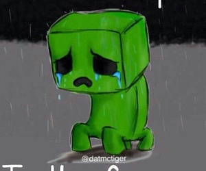creeper, sad, and minecraft image