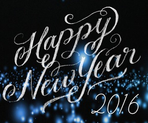 2016, black and blue, and happy new year image