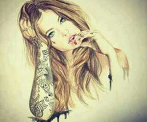 draw, girl, and draw girl image
