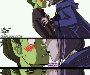 teen titans, raven, and beast boy image