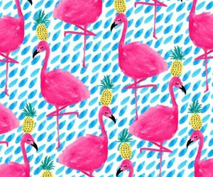 flamingo, pineapple, and wallpaper image