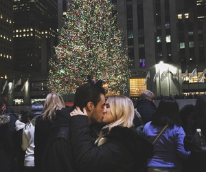 christmas, christmas tree, and cute couples image