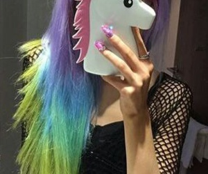 colorful hair, hair, and pretty image