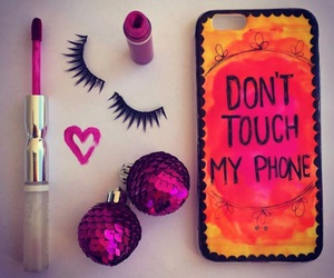 make up, iphone case, and don't touch my phone image
