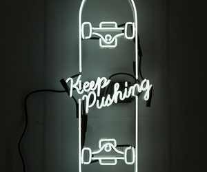 neon, light, and skateboard image