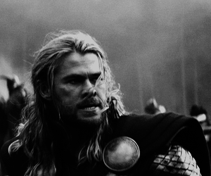 black and white, Marvel, and thor image