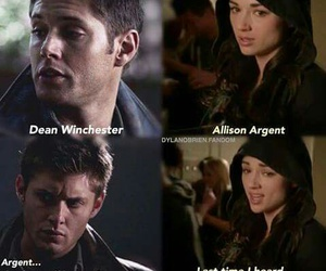 dean winchester, allison argent, and supernatural image