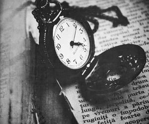 black and white, book, and watch image