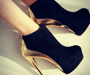 shoes, black, and gold image