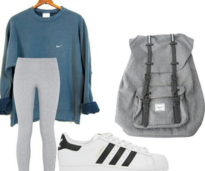fashion, outfit, and grey backpack image