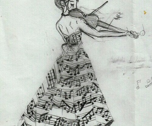 music, violin, and drawing image