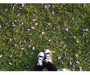 black converse, converse, and flowers image