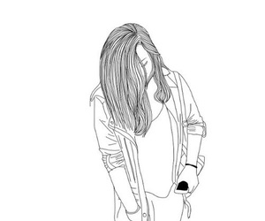 outline, girl, and black and white image