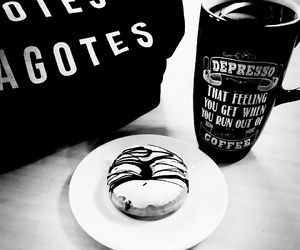 black and white, food, and coffee image