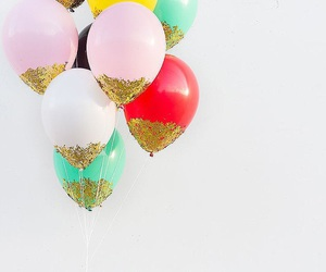 balloons, gold, and glitter image