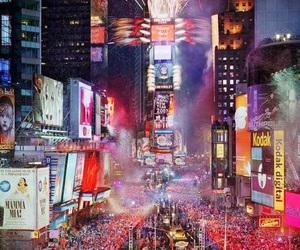 new york, times square, and new year image