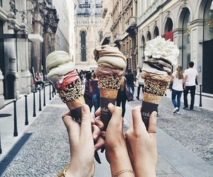 ice cream, food, and friends image
