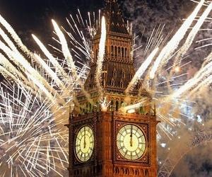 london, fireworks, and Big Ben image